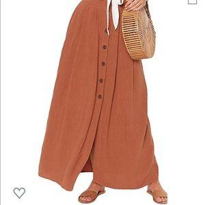 Rust Button up Maxi Skirt